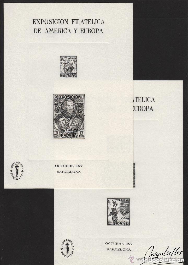 HOJA RECUERDO Nº 55 , 56 AÑO 1977 . ESPAMER 77 . EXPOSICIÓN FILATÉLICA AMÉRICA Y EUROPA . NEGRAS (Sellos - España - Pruebas y Minipliegos)