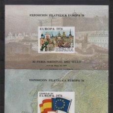 Sellos: ESPAÑA . 1978. HOJA RECUERDO 62/63 -SIN DENTAR-. XI FERIA NACIONAL DEL SELLO . EUROPA 78 - NUEVAS** . Lote 81833946