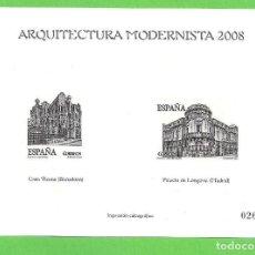 Sellos: IMPRESIÓN CALCOGRÁFICA - ARQUITECTURA MODERNISTA - EDIFIL 4402-4403. (2008).**. Lote 76028267