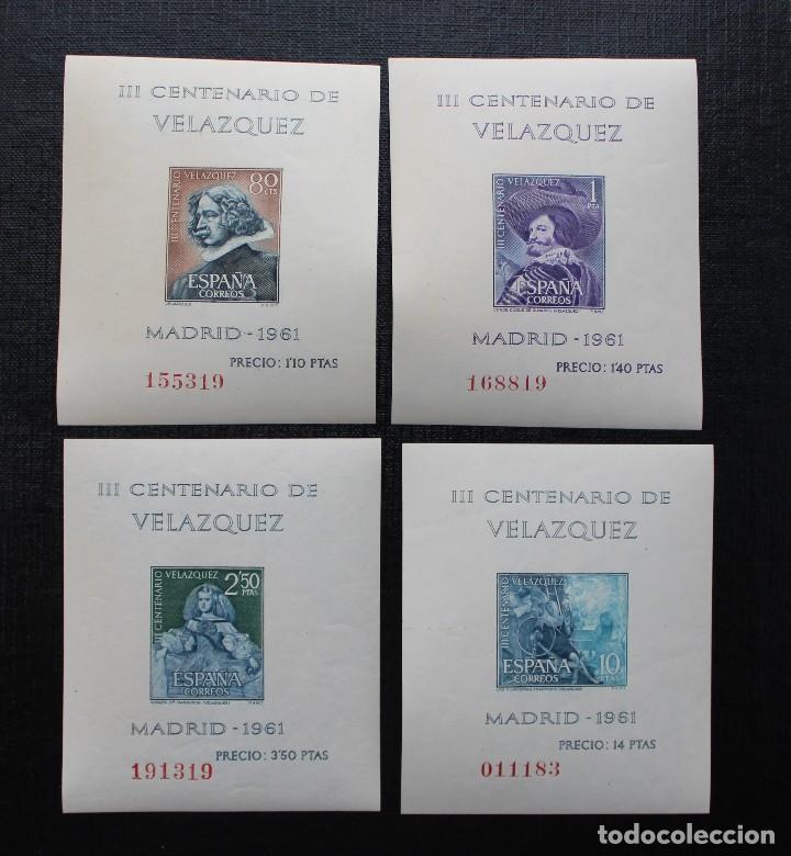 ESPAÑA 1961, EDIFIL 1344 AL 1347, CENTENARIO DE LA MUERTE DE VELASQUEZ, NUEVOS SIN FIJASELLOS ** (Sellos - España - Pruebas y Minipliegos)