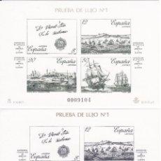 Sellos: ESPAÑA 1987 -HOJA PRUEBA Nº 12 Y 13 ESPAMER 87 LA CORUÑA CON EL MISMO NÚMERO. Lote 87788644