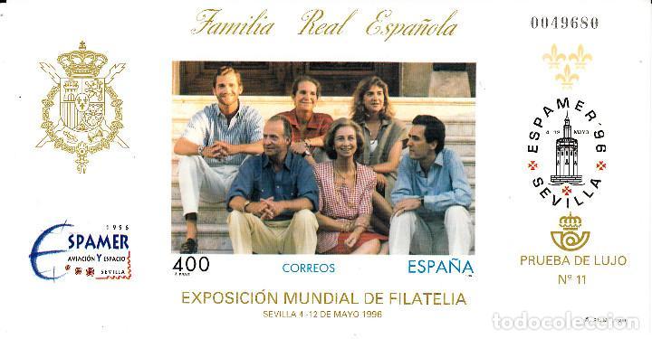 PRUEBA DE LUJO NUMERO 11 FAMILIA REAL ESPAÑOLA ESPAMER 1996 (Sellos - España - Pruebas y Minipliegos)