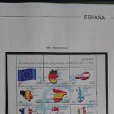 Sellos: ESPAÑA EDIFIL 3632/43 NUEVOS MINIPLIEGO 63 PAÍSES DEL EURO 1999 CON HOJA EDIFIL. Lote 96606995