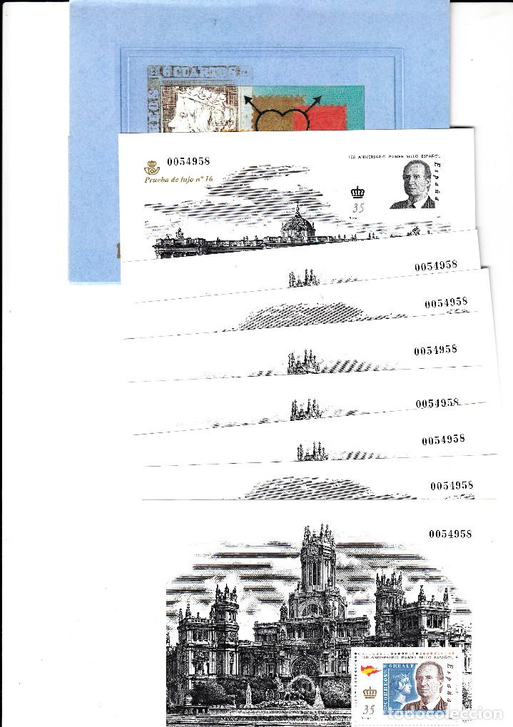 3711AC 150 ANIVERSARIO DEL SELLO ESPAÑOL LAS 7 HOJITAS Y LA PRUEBA DE LUJO NUM.16 CON CARPETA (Stamps - Spain - Tests and Minisheets)