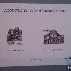 Sellos: ESPAÑA- 2008 - PRUEBAS ESPECIALES - ARQUITECTURA MODERNISTA 2008 - MNH** NUEVA (TIRADA LIMITADA). Lote 101452247
