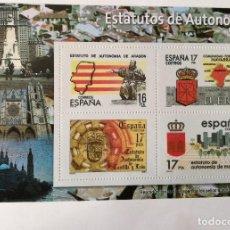 Sellos: HOJA BLOQUE 4 SELLOS. ARAGÓN. NAVARRA. CASTILLA Y LEÓN. MADRID. ESTATUTOS DE AUTONOMÍA. ESPAÑA. Lote 103747107
