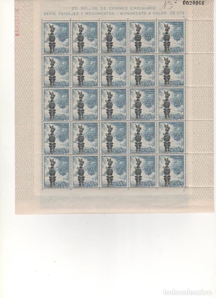 ESPAÑA-1643 MONUMENTO A COLÓN BARCELONA PLIEGO 25 SELLOS NUEVOS SIN FIJASELLOS (SEGÚN FOTO) (Sellos - España - Pruebas y Minipliegos)