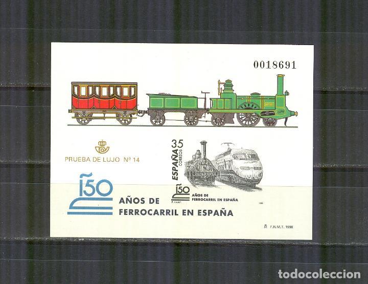 PRUEBA 67 3591 150 AÑOS FERROCARIL ESPAÑA FF.CC.1998 PERFECTO ESTADO (Sellos - España - Pruebas y Minipliegos)