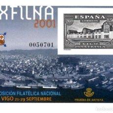 Sellos: PRUEBA OFICIAL NUMERO 75 EXFILNA 2001 VIGO. Lote 142687201
