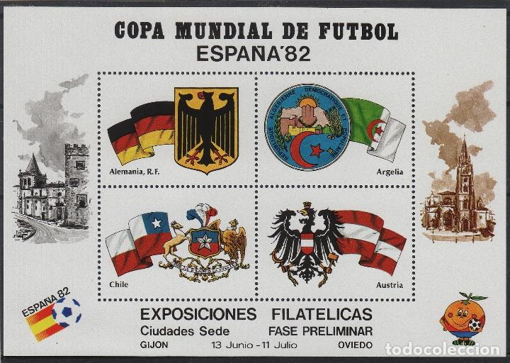 HOJA RECUERDO COPA MUNDIAL DE FUTBOL ESPAÑA 82 SEDE GIJÓN - OVIEDO , FASE PRELIMINAR (Sellos - España - Pruebas y Minipliegos)
