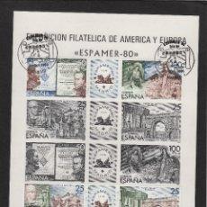 Sellos: PRUEBA ED 3 EXPOSICION ESPAMER 80 -1980 CON SELLOS Y MAT EUROPA 3 OCT. BONITA COMPOSICIÓN. Lote 123651467