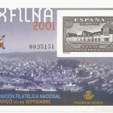 Sellos: ESPAÑA 2001. EXFILNA 2001. VIGO. PRUEBA OFICIAL Nº 75. Lote 124553175