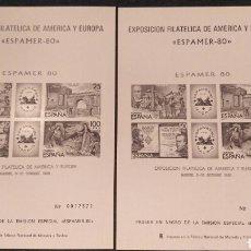 Sellos: EXPOSICIÓN FILATÉLICA DE AMÉRICA Y EUROPA, ESPAMER 80, VER, DOS PLIEGOS CORRELATIVOS, PRUEBA. Lote 125172536