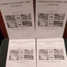 Sellos: EXPOSICIÓN FILATÉLICA DE AMÉRICA Y EUROPA, ESPAMER 80, VER, 5 PLIEGOS, PRUEBAS. Lote 125172891