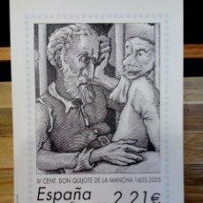 Sellos: ESPAÑA CORREOS 2005 - IV CENTENARIO DON QUIJOTE DE LA MANCHA. (CALCOGRAFÍA).. Lote 128478167