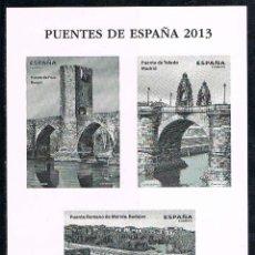 Sellos: AÑO 2013, PUENTES: FRIAS (BURGOS), TOLEDO (MADRID) Y PUENTE DE MERIDA (BADAJOZ). PRUEBA CALCOGRAFICA. Lote 130701954