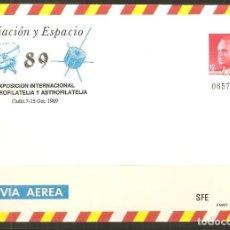 Sellos: SOBRE VÍA AÉREA, AVIACIÓN Y ESPACIO-89 - EXPOSICIÓN INTERNACIONAL DE AEROFILATELIA Y ASTROFILATELIA. Lote 136503486