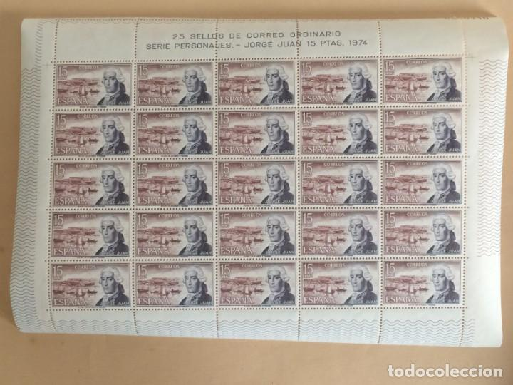 Sellos: AÑO 1974 - EDIFIL 2182 - PERSONAJES ESPAÑOLES: JORGE JUAN - PLIEGO COMPLETO DE 25 SELLOS Nº 0280446 - Foto 2 - 137316482