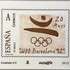 """Sellos: 2012-ESPAÑA GRABADO Nº4 - """" JJOO BARCELONA´92"""" - BARNAFIL 2012 - NUMERACIÓN EN ROJO TIRADA 25 UND.. Lote 140387734"""