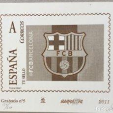 """Sellos: 2011-ESPAÑA GRABADO Nº5 - """" FC BARCELONA"""" - BARNAFIL 2011 - TIRADA 600 UND. NUMERADA Y FIRMADA. Lote 140443146"""
