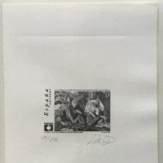 """Sellos: 1999-ESPAÑA PRUEBA ARTISTA-DISEÑO """"EL CAMBISTA Y SU MUJER"""" PD3678 -TIRADA 275 UND.. Lote 140447078"""