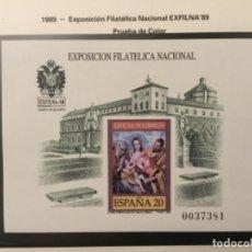 """Sellos: 1989-ESPAÑA PRUEBA OFICIAL Nº 19 EXPOSICIÓN FILATELICA NACIONAL EXFILNA´89 """"TOLEDO"""" 2ª TIRADA. Lote 206446120"""