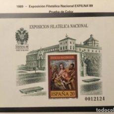 """Sellos: 1989-ESPAÑA PRUEBA OFICIAL Nº 19 EXPOSICIÓN FILATELICA NACIONAL EXFILNA´89 """"TOLEDO"""" 1ª TIRADA. Lote 236448390"""