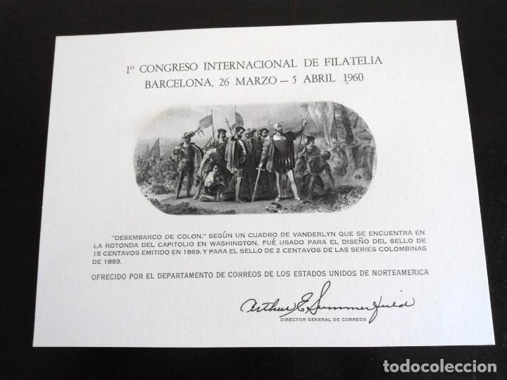 PRIMER CONGRESO INTERNACIONAL DE FILATELIA - PRUEBA DEL DEPARTAMENTO DE CORREOS DE EEUU 1960 - RARO (Sellos - España - Pruebas y Minipliegos)