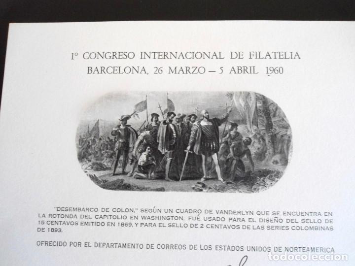 Sellos: PRIMER CONGRESO INTERNACIONAL DE FILATELIA - PRUEBA DEL DEPARTAMENTO DE CORREOS DE EEUU 1960 - RARO - Foto 2 - 144246270