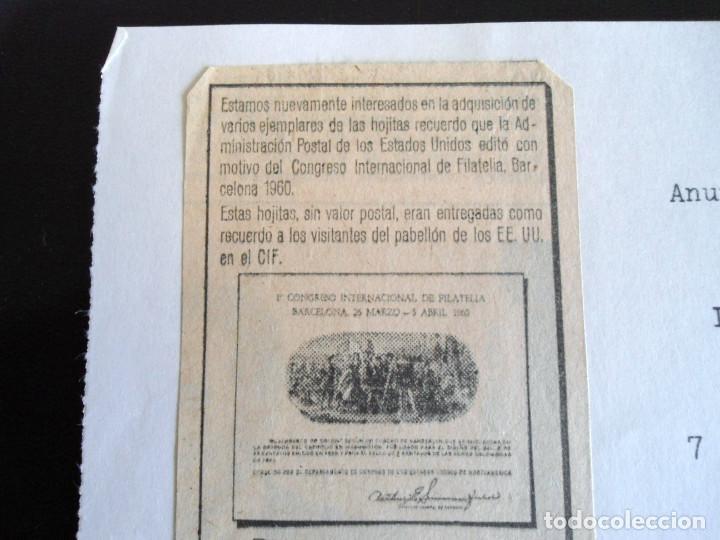 Sellos: PRIMER CONGRESO INTERNACIONAL DE FILATELIA - PRUEBA DEL DEPARTAMENTO DE CORREOS DE EEUU 1960 - RARO - Foto 6 - 144246270
