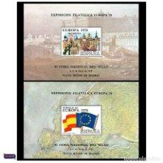 Sellos: ESPAÑA 1978. HOJA RECUERDO EDIFIL 60/61. EUROPA 78. FERIA NACIONAL DEL SELLO. PERFECTAS NUEVO** MNH. Lote 49095783
