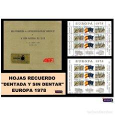 Sellos: ESPAÑA 1978. HOJAS RECUERDO EUROPA 78. ARGENTINA. FÚTBOL -CARPETA OFICIAL- PERFECTAS NUEVO** MNH. Lote 50175100