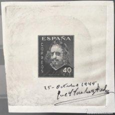 Sellos: ESPAÑA 1945 - QUEVEDO-PRUEBA DE PUNZÓN. FIRMADA POR EL GRABADOR SÁNCHEZ TODA - EDIFIL 989P. Lote 147532646