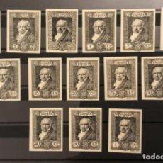 Sellos: 1930-ESPAÑA ENSAYOS PLACHA EN NEGRO QUINTA DE GOYA (499/516) GALVEZ 2616/8 Y 2622/31 - 14 VALORES -. Lote 150309354