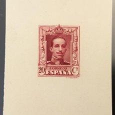 Sellos: 1922-30 ESPAÑA PRUEBA PUNZÓN (*)316 ALFONSO XIII. VAQUER 20 CTS. CARMÍN GALVEZ 2031. DICTAMEN GRAUS. Lote 150499246
