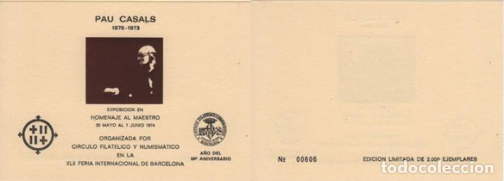 HOJA RECUERDO 1974. HOMENAJE A PAU CASALS. IMAGEN EN MARRÓN. 2000 EJEMPLARES. (Sellos - España - Pruebas y Minipliegos)