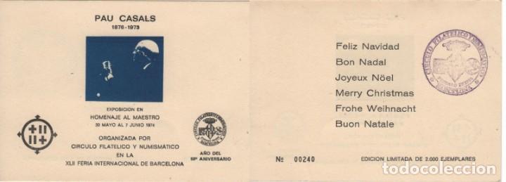 HOJA RECUERDO 1974. HOMENAJE A PAU CASALS. EN AZUL. MATASELLO. 2000 EJEMPLARES. (Sellos - España - Pruebas y Minipliegos)