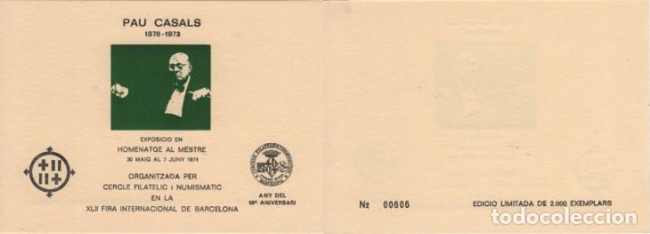HOJA RECUERDO 1974. HOMENAJE A PAU CASALS. IMAGEN EN VERDE. 2000 EJEMPLARES. (Sellos - España - Pruebas y Minipliegos)