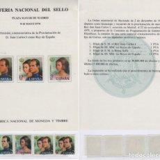 Sellos: HOJA RECUERDO IX FERIA NACIONAL DEL SELLO 1976. MADRID. SELLOS EDIFIL 2302/05**.. Lote 157236546