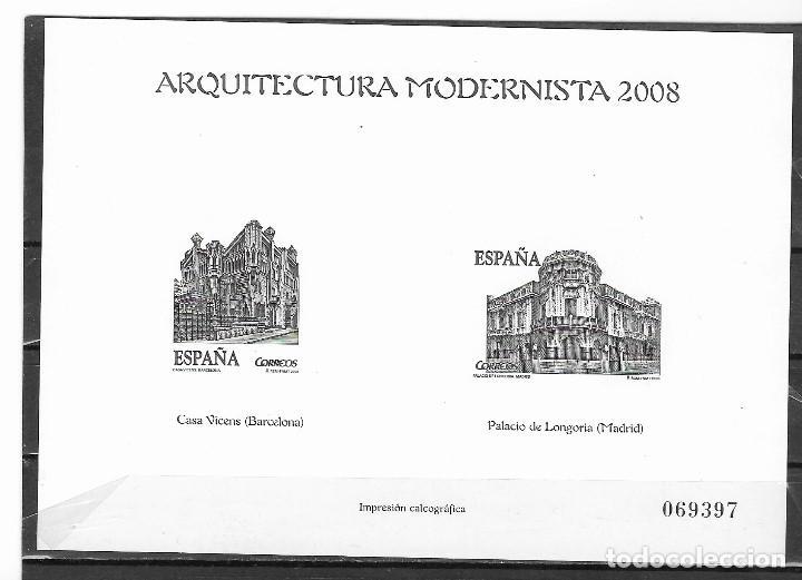ESPAÑA PRUEBAS DE LUJO 2008 ARQUITECTURA MODERNA (**) (Sellos - España - Pruebas y Minipliegos)