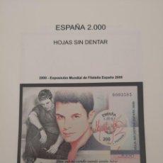 Sellos: ESPAÑA EXPOSICIÓN MUNDIAL ESPAÑA 2000 SIN DE TARJETAS MISMA NUMERACIÓN TARJETAS 11 HOJAS BLOQUE . Lote 158521890