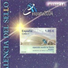Stamps - MINIPLIEGO HOJITA ESPAÑA 2004 EXPOSICIÓN MUNDIAL FILATELIA LA VALENCIA DEL SELLO VALOR 1,85 EUROS - 160273470
