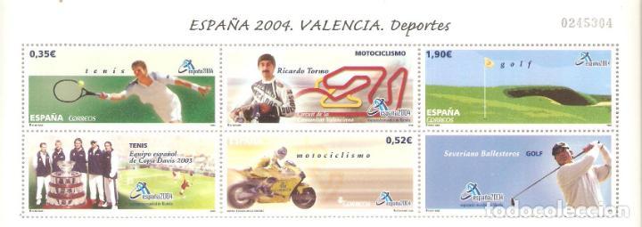 MINIPLIEGO HOJITA ESPAÑA 2004 VALENCIA DEPORTES VALOR FACIAL 2,77 EUROS (Sellos - España - Pruebas y Minipliegos)