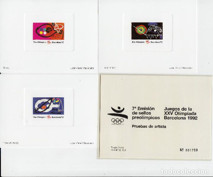 3 PRUEBAS DE ARTISTA BARCELONA 92 - 1992 7 EMISIÓN SELLOS PREOLIMPICOS - MISMO NÚMERO (Sellos - España - Pruebas y Minipliegos)