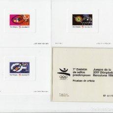Sellos: 3 PRUEBAS DE ARTISTA BARCELONA 92 - 1992 7 EMISIÓN SELLOS PREOLIMPICOS - MISMO NÚMERO . Lote 161686606
