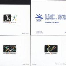 Selos: 3 PRUEBAS DE ARTISTA BARCELONA 92 - 3ª EMISIÓN SELLOS PREOLIMPICOS - MUESTRA ROBERT LLIMOS. Lote 165504674