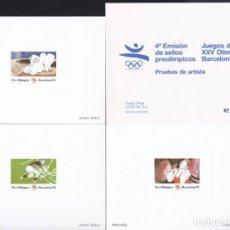 Selos: 3 PRUEBAS DE ARTISTA BARCELONA 92 - 4ª EMISIÓN SELLOS PREOLIMPICOS - MUESTRA ARRANZ BRAVO. Lote 165504822