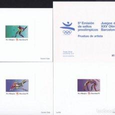 Selos: 3 PRUEBAS DE ARTISTA BARCELONA 92 - 5ª EMISIÓN SELLOS PREOLIMPICOS - MUESTRA GERARD SALA. Lote 165505018