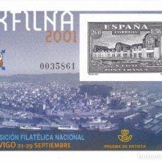 Sellos: Nº 75 PRUEBA DE LUJO DE EXFILNA 2001 VIGO. Lote 165519446