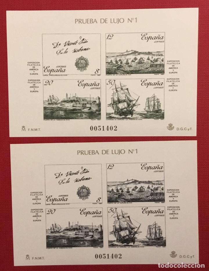 1987-ESPAÑA PRUEBAS DE LUJO EDIFIL Nº 12/13 - ESPAMER 1987 -MISMA NUMERACIÓN - (Sellos - España - Pruebas y Minipliegos)